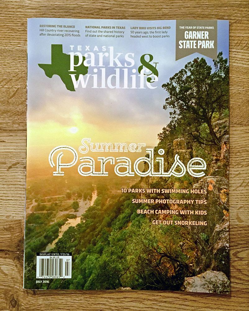 Texas Parks and Wildlife Magazine Cover | Garner State Park