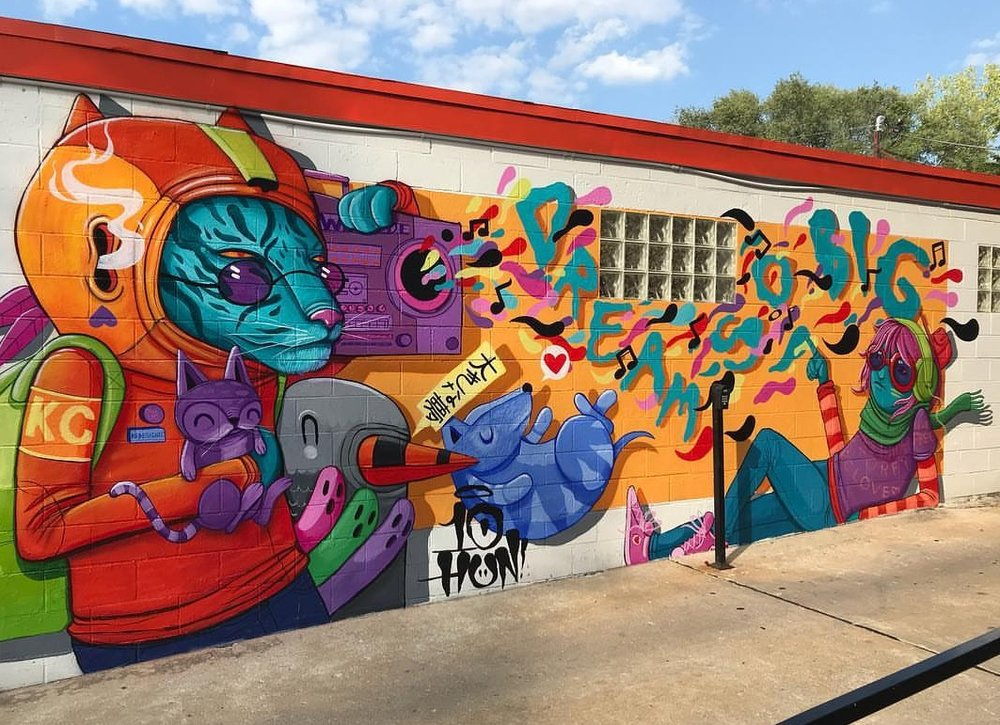 Our goal is to continue to grow and propel KC's Crossroads into a mural-laden neighborhood that promotes creative expression and exploration on a large, public scale; an art-mecca of our own midwest design. -