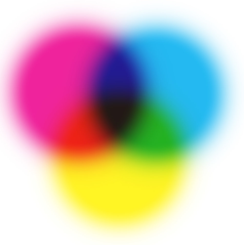 CMYK: Cyan, Magenta, Yellow, blacK inks have a wider range of color combinations than the Red, Yellow, and Blue paints you may have used during school.