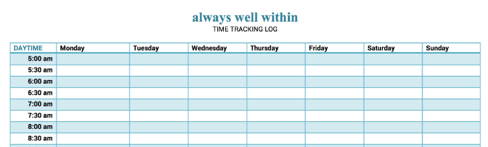 Time Tracking Log