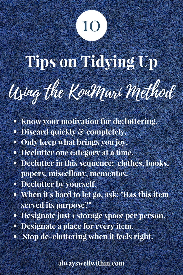 Click through for an overview of KonMari decluttering.