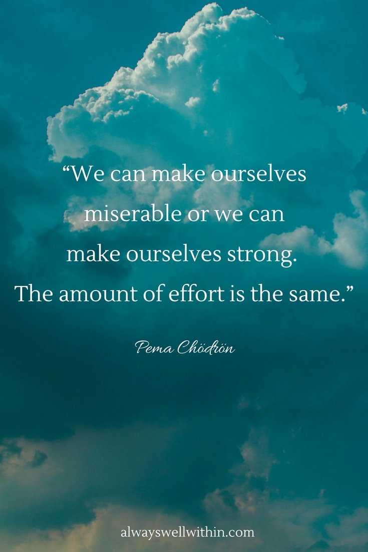 48 Pema Chodron quotes to help you gain strength + perspective in difficult times. #pemachodron #pemachodronquotes #overcomingdifficulties #overcomingchallenges