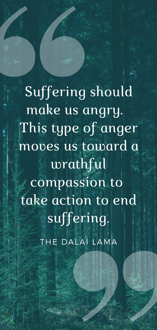 """Suffering should make us angry.  This type of anger moves us toward a wrathful compassion to take action to end suffering."" - the Dalai Lama  