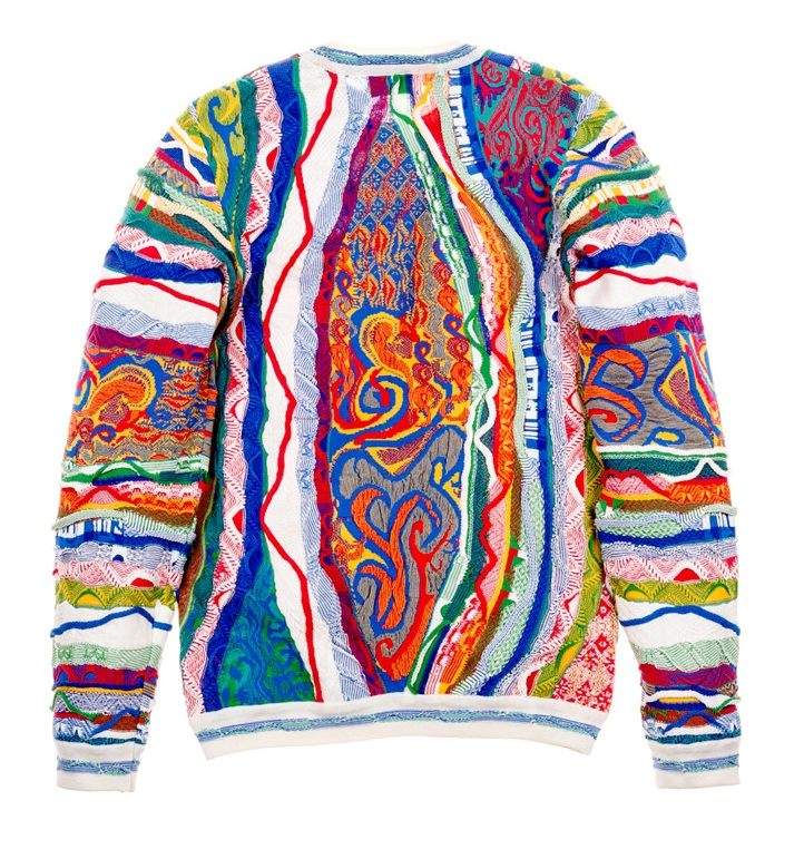 """""""We were inspired by our love for the Coogi knit, particularly because we were able to use the same machinery and knitting mills used in the '90s to create Biggie's sweater,"""" Android Homme president Steve Patino. -"""