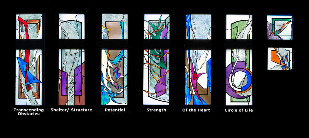 "Sanctuary Windows, six 2'-4"" x 8'-4""  St. Columban is located in a small town with a rural feel; rolling hills, a beautiful river and many trees. Nature became the underlying theme for all the stained glass windows.  As we talked about the varied qualities of trees, we started to see parallels in religious life.  Thus trees became the theme for the six rectangular sanctuary windows."