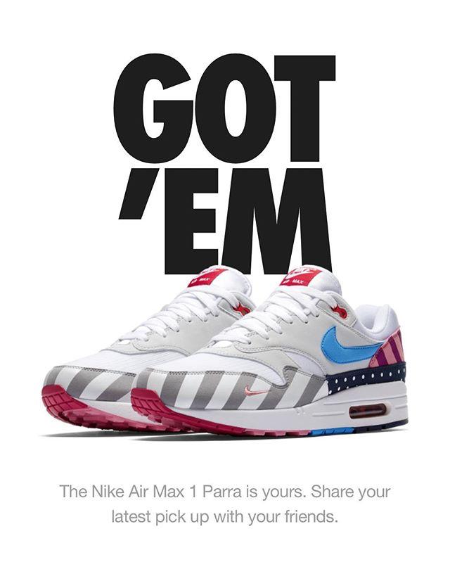 Size 11. Who wants em? $525 shipped. DM for details. #parra #airmax1 #airmaxparra