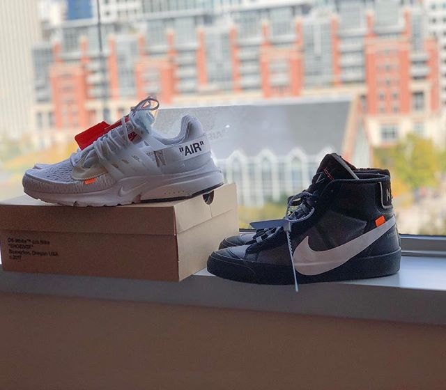 Both of these up for sale!  Nike Off White Presto  Size 11 $485  Nike Off White Blazer  Size 9 $485  DM us for more info!  #sneakerheads #kotd #offwhite #nike