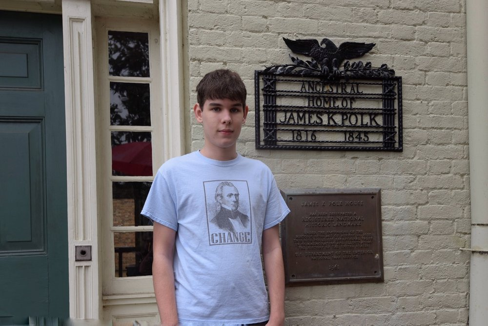 Aidan at the James K. Polk Ancestral Home