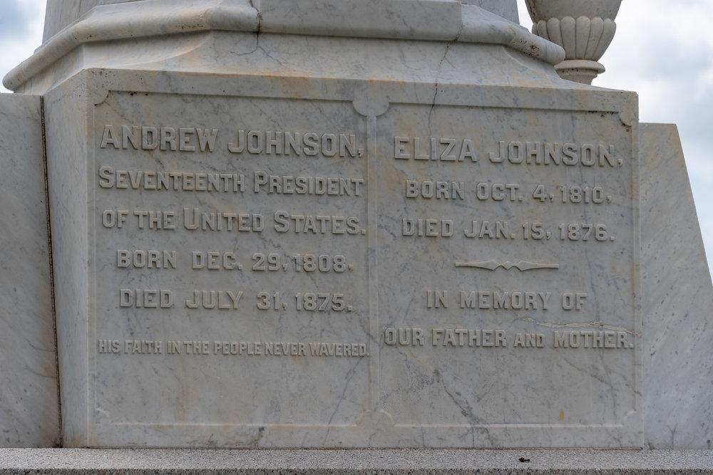 Andrew and Eliza Johnson's Gravestone Inscription