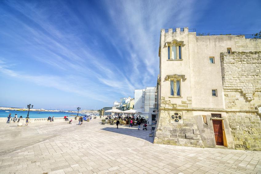 Copy of Seaside promenade with many tourists in Otranto, Italy