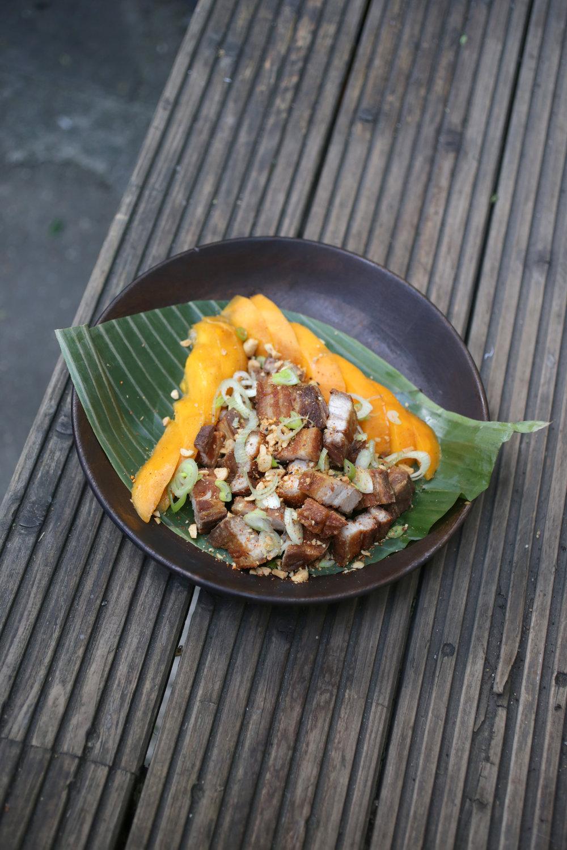 Lechon Kawali with fresh mango