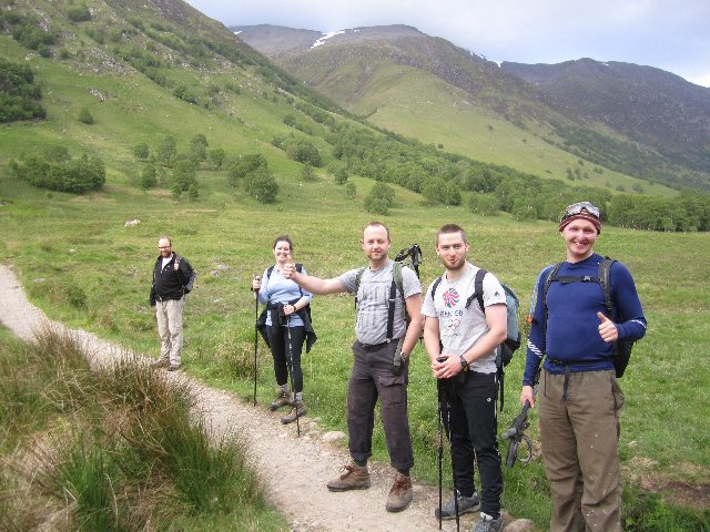 Hikers at the foot of Ben Nevis, attempting 4.5 ascents in 24 hours!