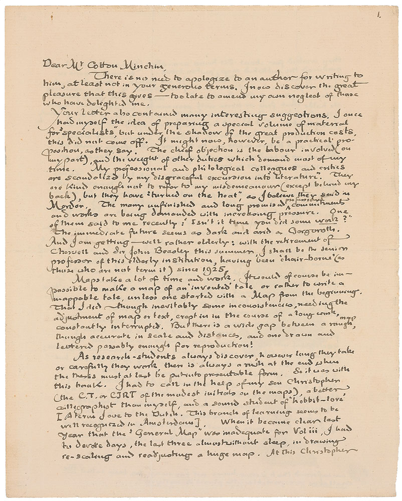 Tolkien's letter to H. Cotton Minchin, page one
