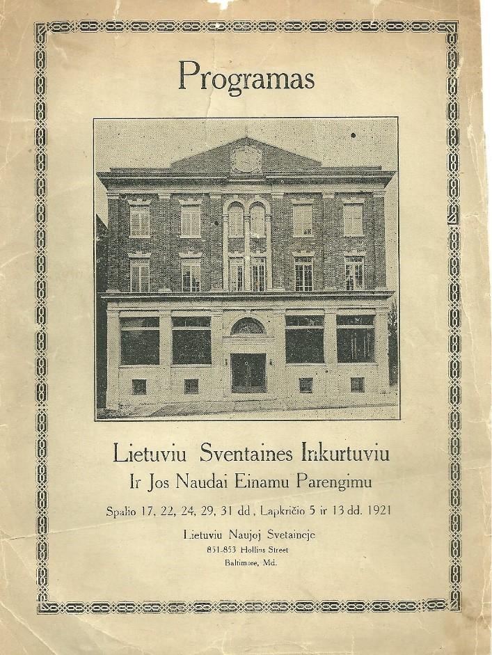 Program book cover for the Opening celebrations in October - November 1921