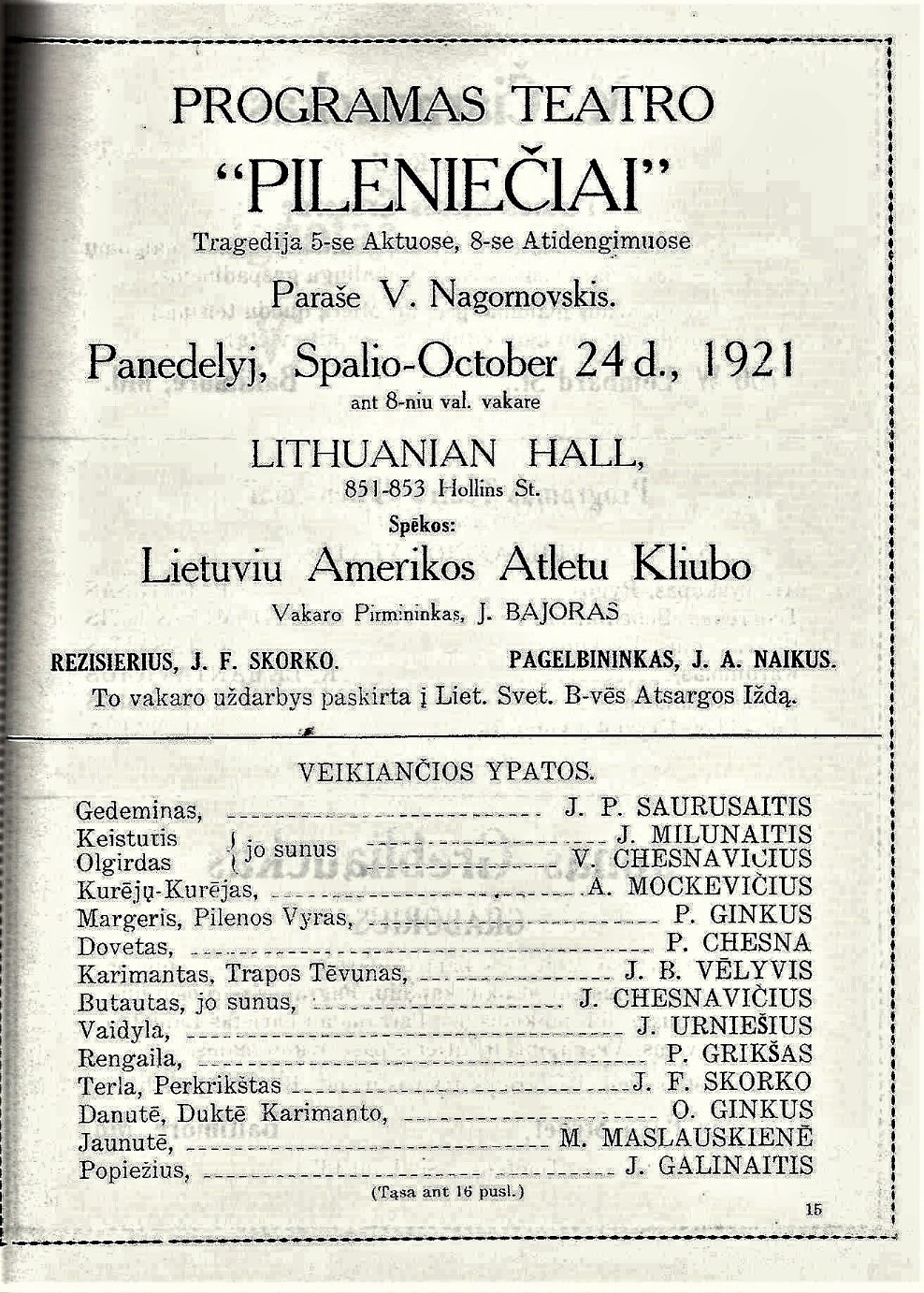 """Playbill for the Drama """"Pilienieciai,"""" October 24, 1921"""