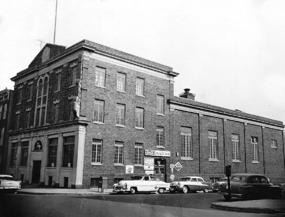 Lithuanian Hall in 1956 – Note the 50's automobiles and the Marquee sign hanging from the corner of the building
