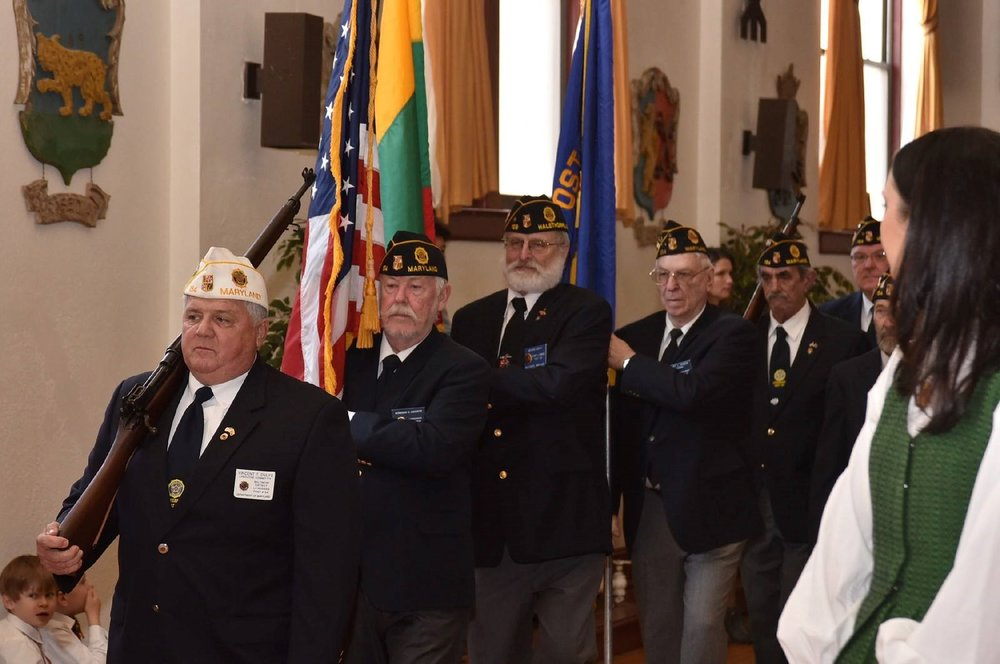 The American Legion Lithuanian Post #154 presenting the colors during a Lithuanian Independence Day celebration.