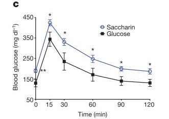 Glucose intolerance in mice fed a diet rich in the artificial sweetener Saccharin [Figure 1C]