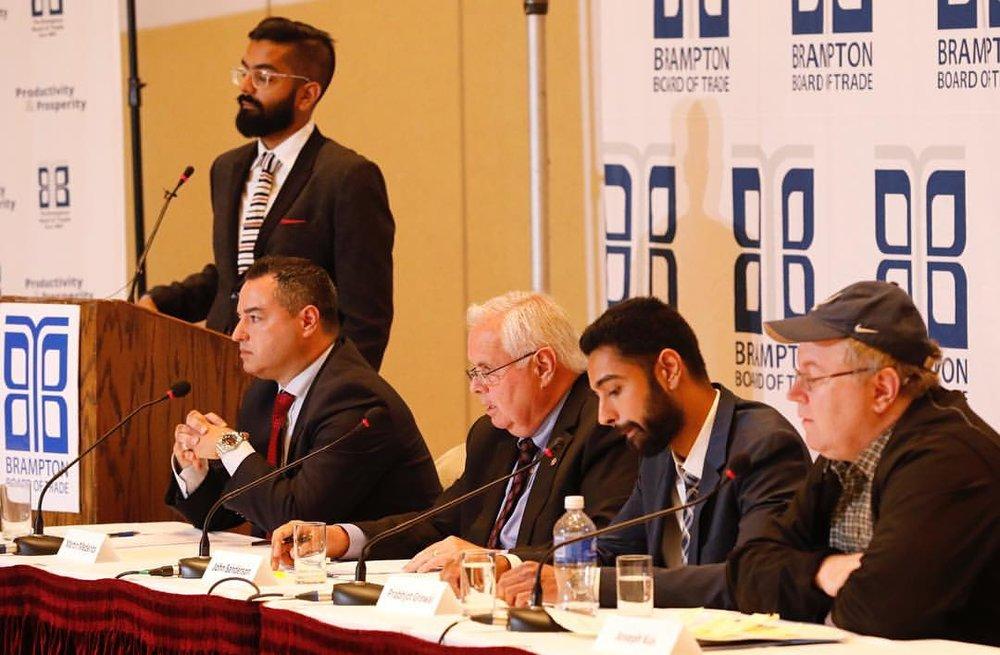 Nav moderating the Brampton Board of Trade's Municipal election debates