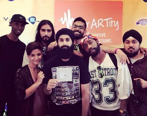 (From Left to Right) Strictly Steele, Selena Dhillon, Savv, Noyz, Nav Nanwa, Tremayne and Dusty Loops  (July 2017)