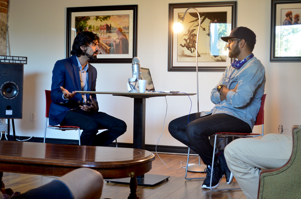 Nav conducting a podcast interview with artist Kanwar Singh of Art of Punjab