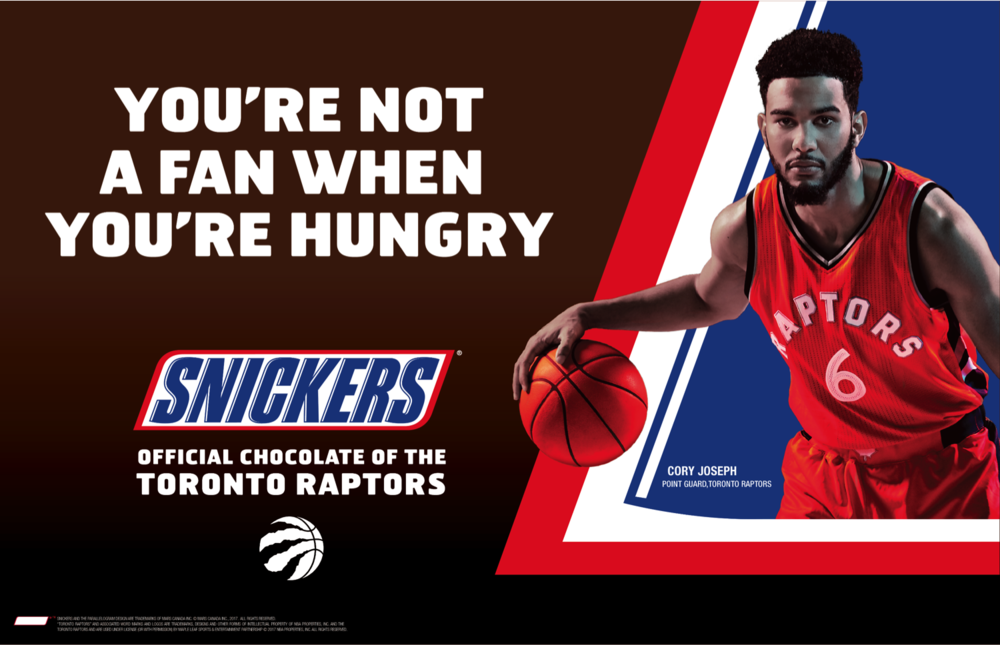 Snickers in-store creative featuring former Toronto Raptors player Cory Joseph (2017)