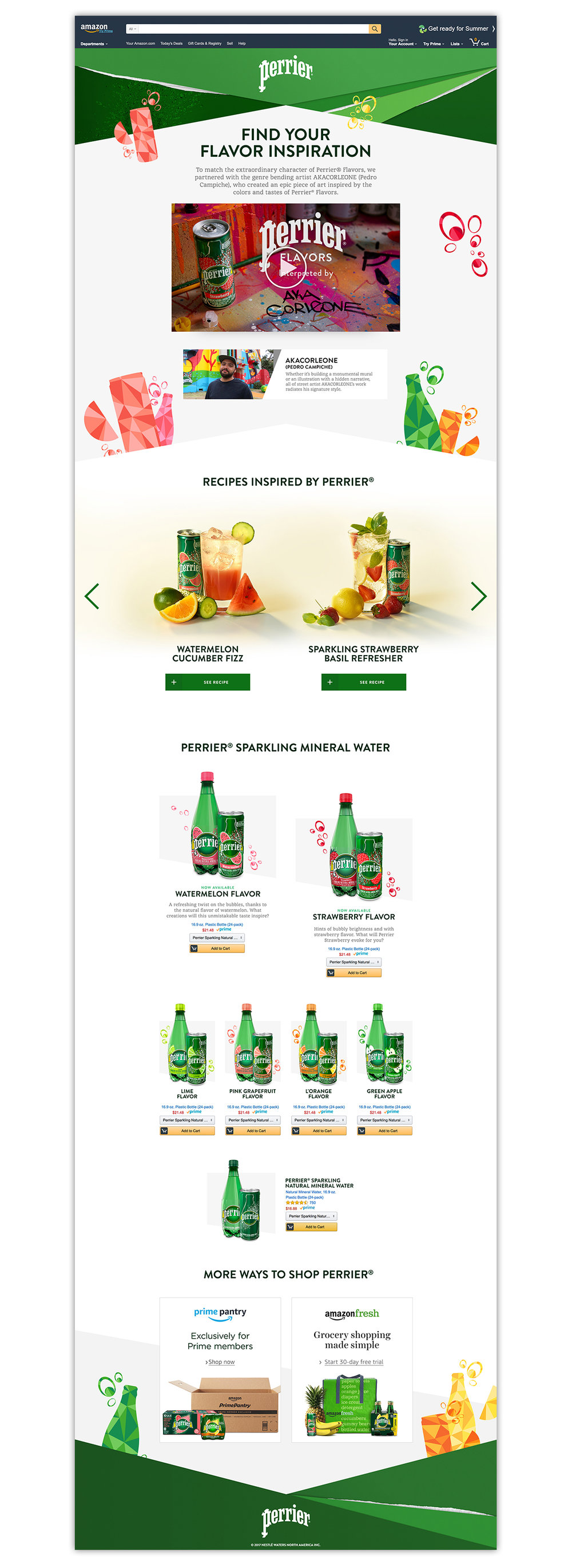 Perrier Custom Campaign Landing Page, Digital, 3000px x11208 px