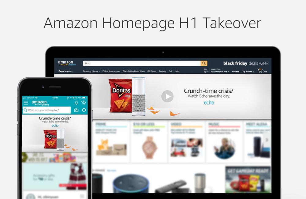 Amazon Homepage H1 Takeover, Digital, 3000 x 600px(Desktop) / 1242 x 704px(Mobile)