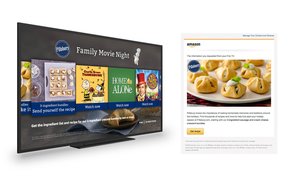 """Send more info"" function on ""Pillsbury Family Movie Night"" Fire TV Landing Page"