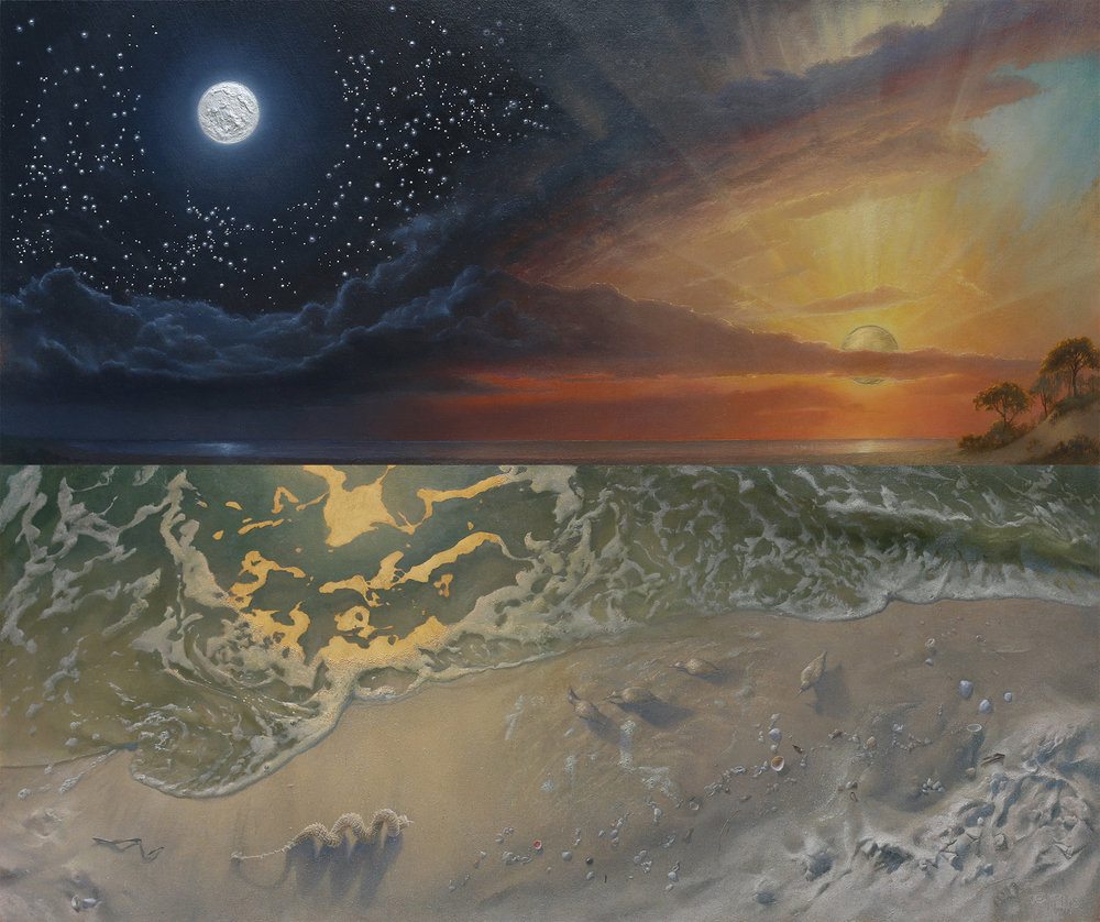 Ontology  was painted with the companion piece  Hieros Gamos. Both now reside in a prestigious private collection.
