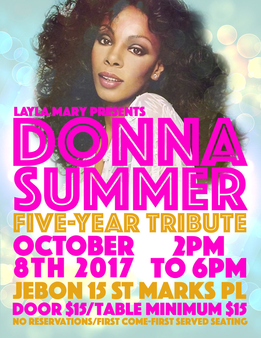 Promotional flyer for Layla Mary.