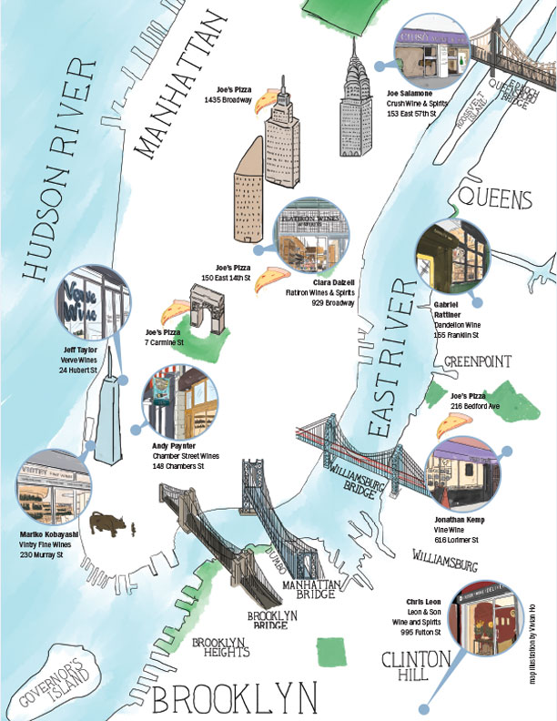 "map for  Wine & Spirits ' June 2018 feature story ""Retailer Challenge The NY Slice"" by Deanna Gonnella."
