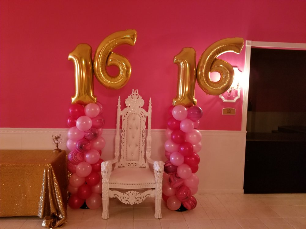 Pink sweet sixteen balloon columns.jpg