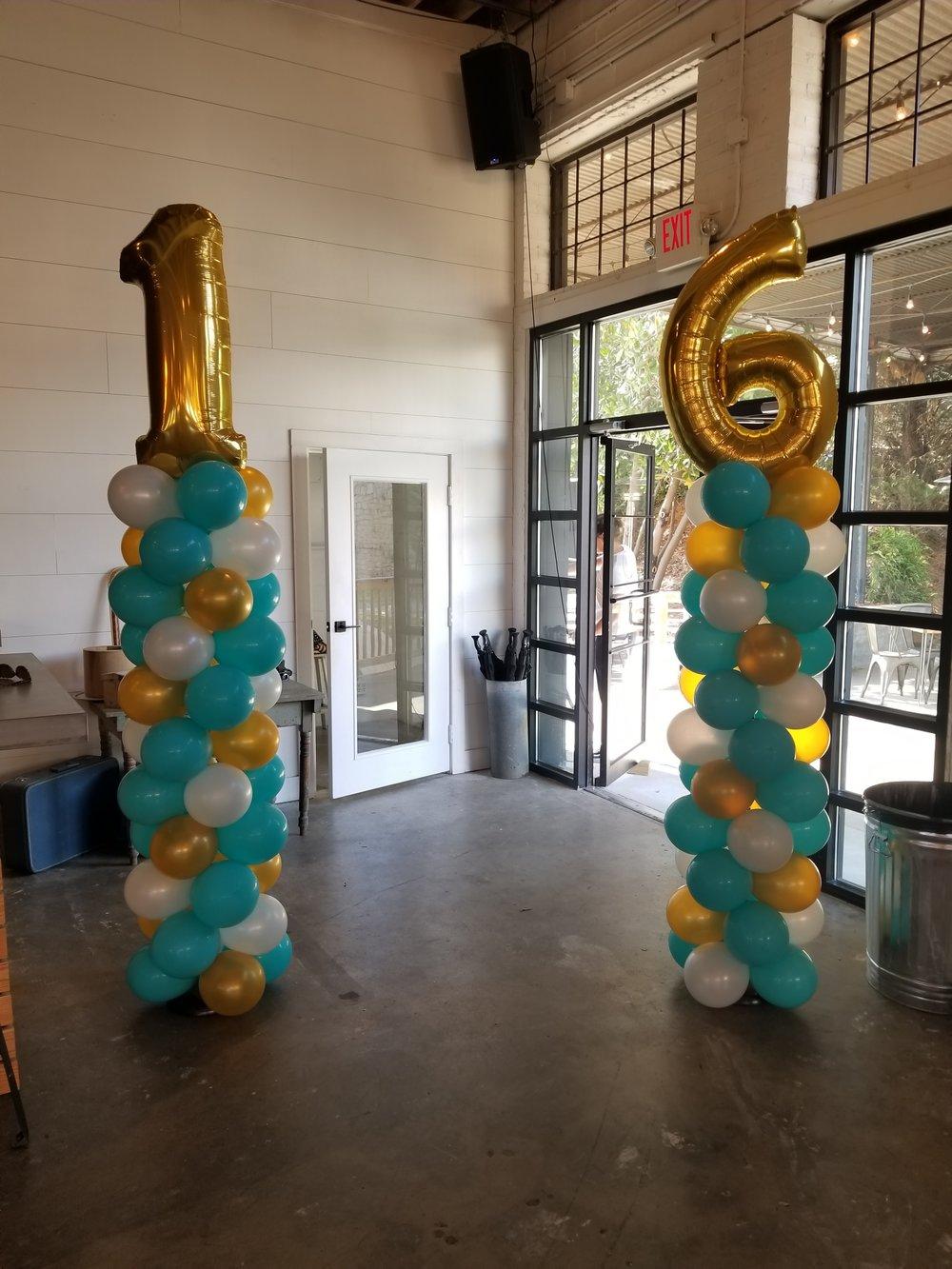 Tiffany themed sweet sixteen balloon columns.jpg