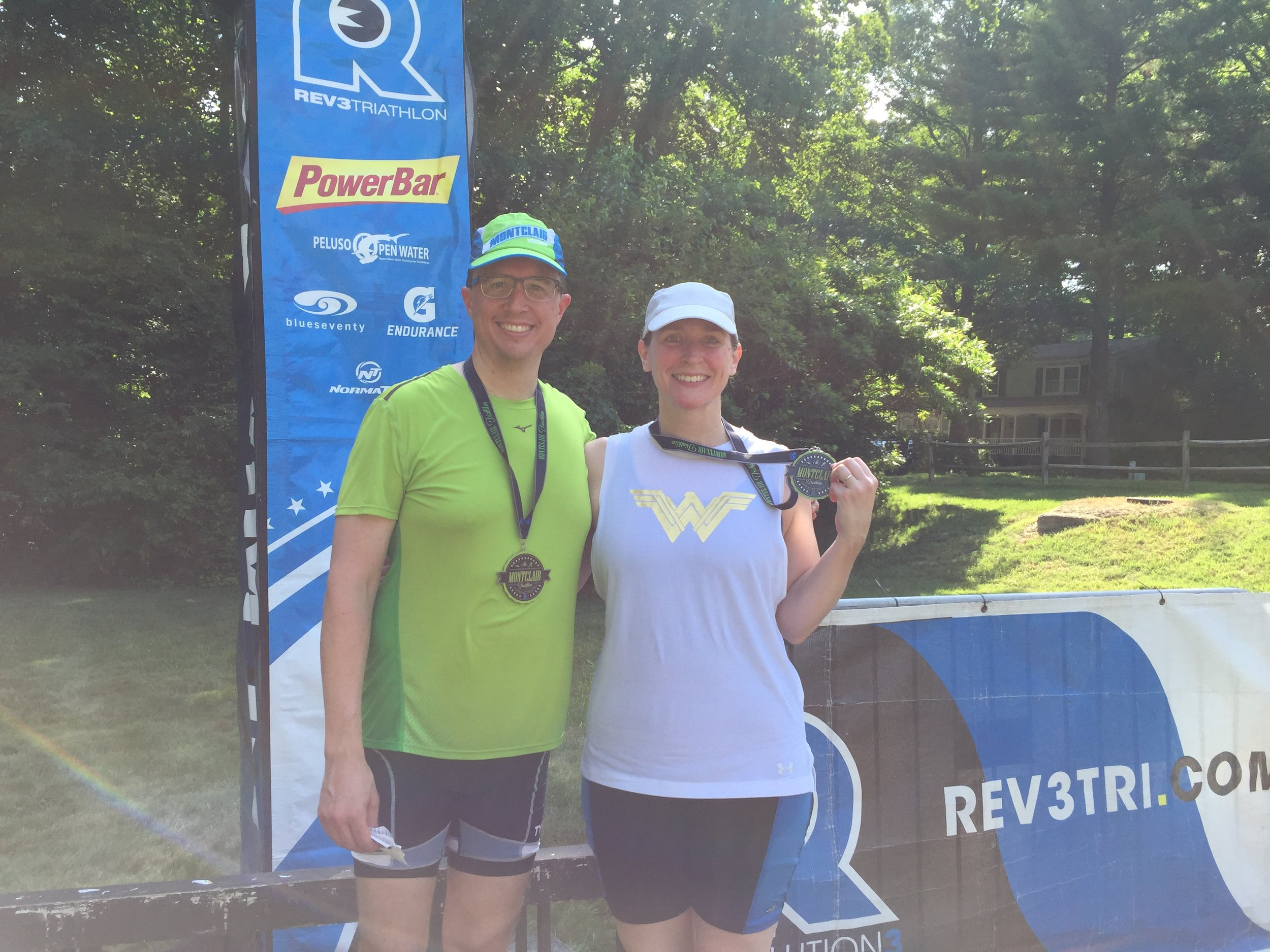 72f82488a4789 Yesterday Robert and I competed in the Montclair Sprint Triathlon, my  second sprint tri and his first.