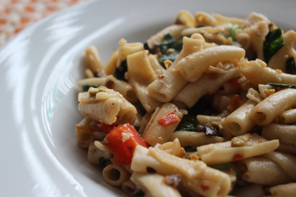 penne with peppers spinach and mushrooms.JPG