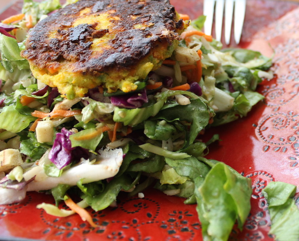 split pea patty over salad.JPG