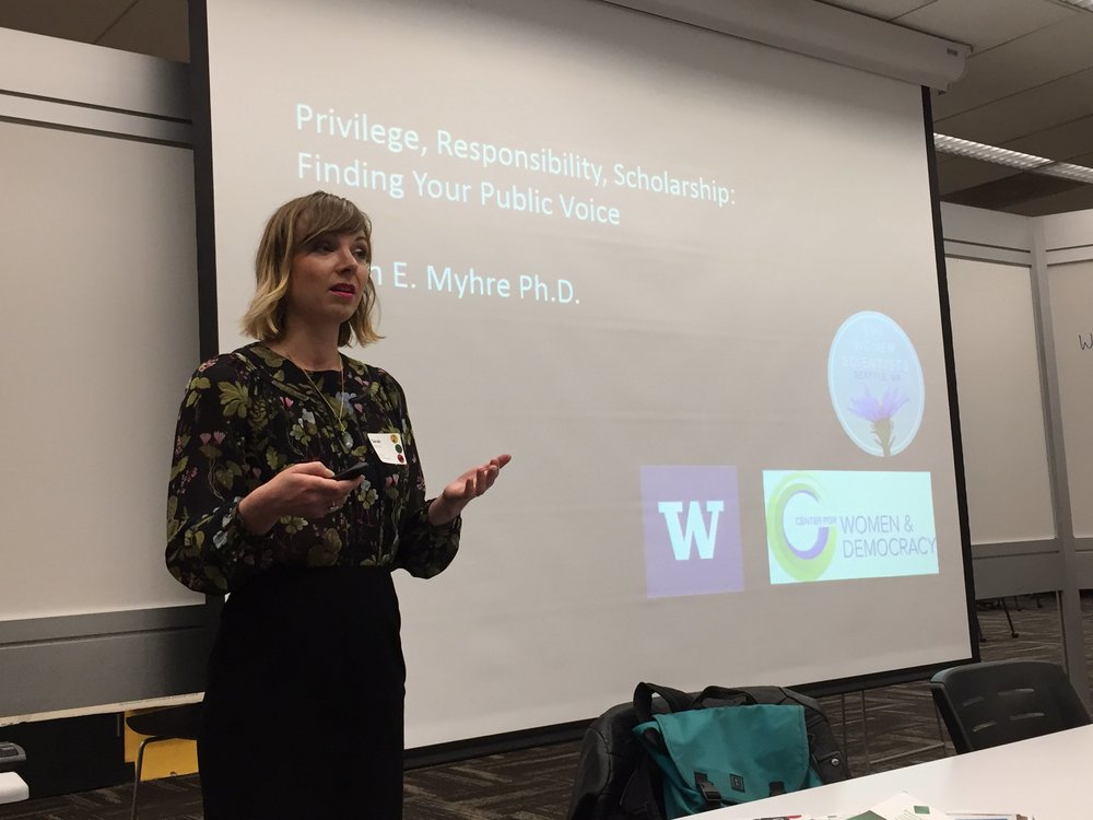 "Dr. Myhre leads a workshop for the University of Washington Library on "" Going public: connecting research and communities "", 4/7/2018."