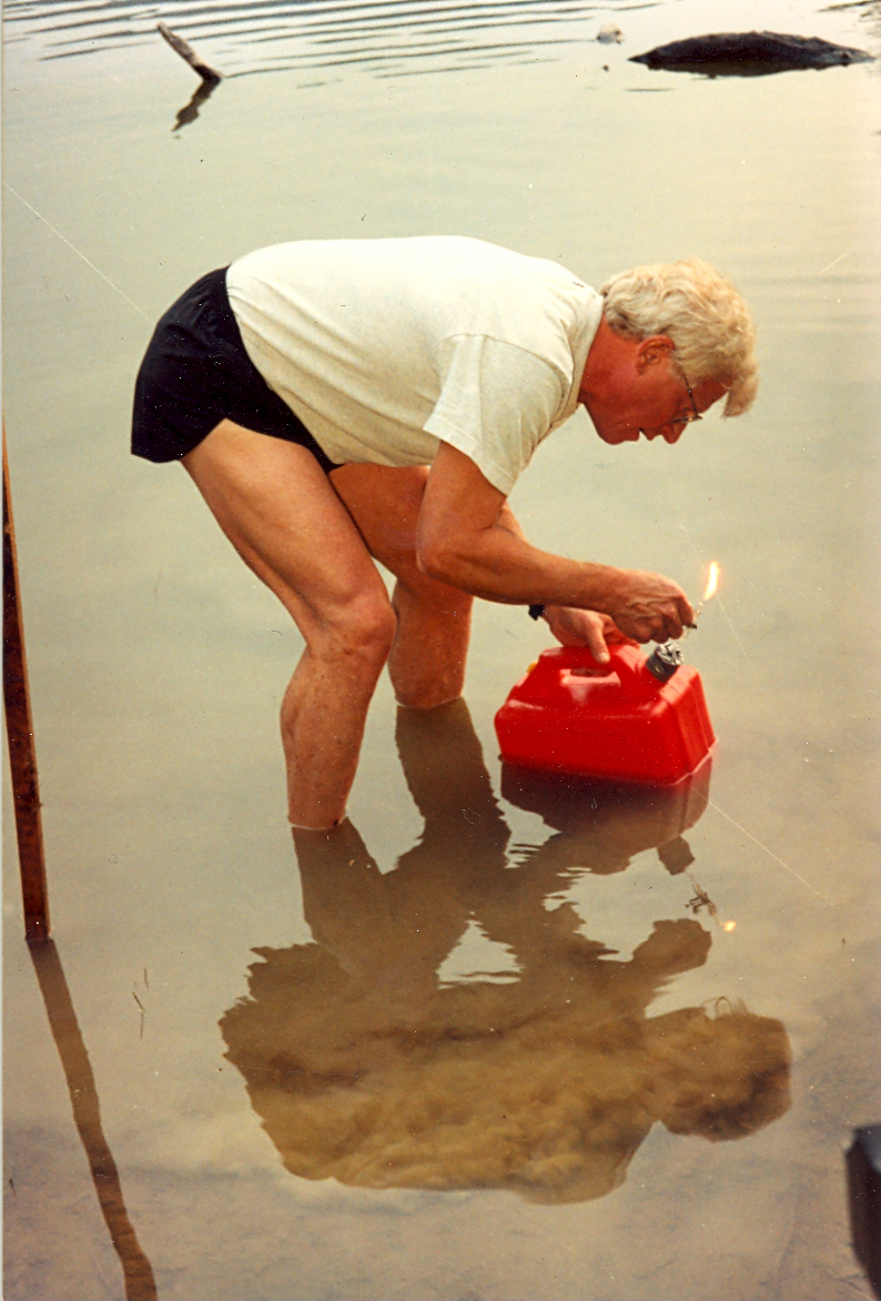 Dr. Greg Ferry performs a re-enactment of Count Alessandro Volta's 1776 experiment that resulted in the discovery of methane gas and living anaerobic microbes in previously thought-to-be dead underwater lake detritus, establishing the basis for modern microbiology.