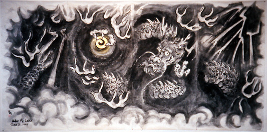 Under Mountain Lake Dragon, 1998; sumi-e brush painting on paper, wood, each panel 70 x 35 in. (177.8 x 88.9 cm) and overall 70 x 140 in. (177.8 x 355.6 cm).