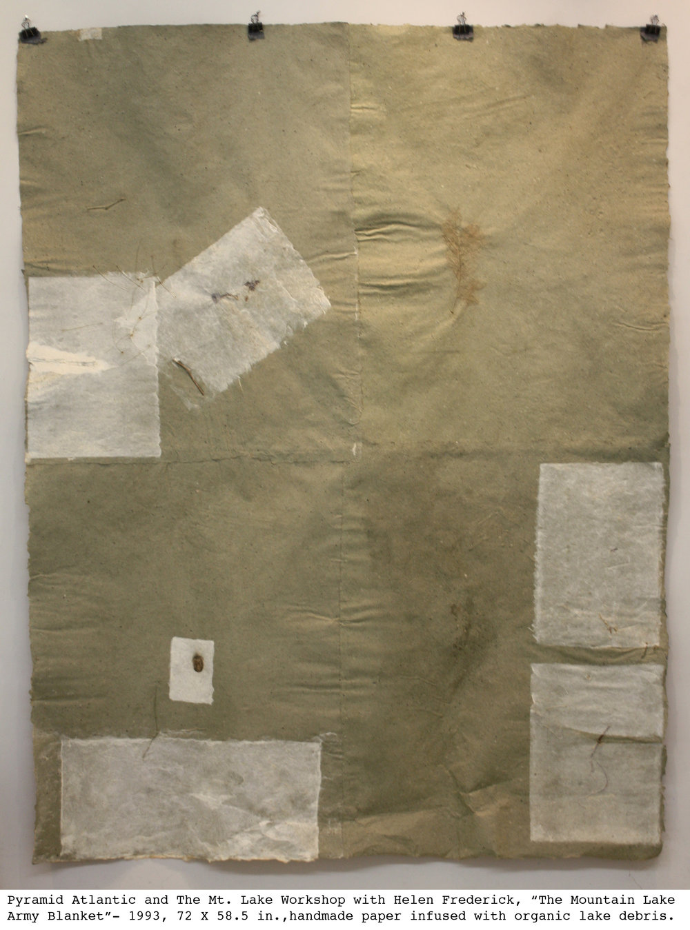 Mountain Lake Army Blanket, 1993, handmade paper infused with organic lake debris, 72 x 58.5 in. (182.88 x 148.59 cm)