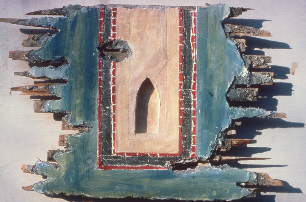 Fragment (8), 24 x 38x 3 inches, Fresco on wood lath, April  1980.