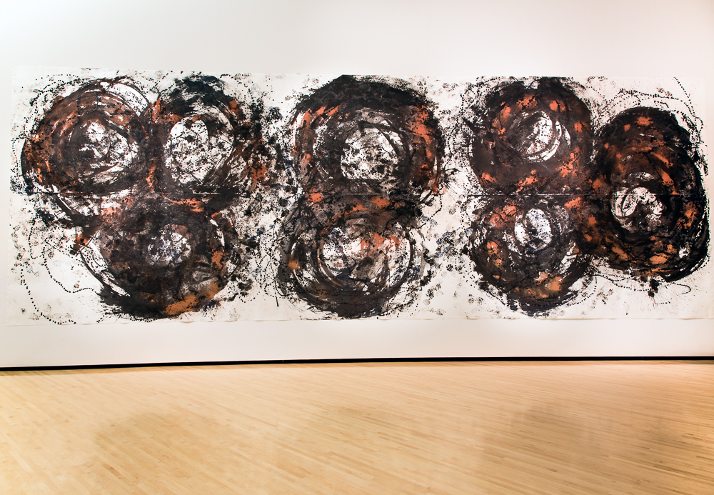 Dorothea Rockburne, Angular Movement, 2012, a performance of John Cage's STEPS: A Composition for a Painting to Be Performed by Individuals or Groups, ink, water media, copper, and mica on paper, 140 x 400 in. (356 x 1016 cm)