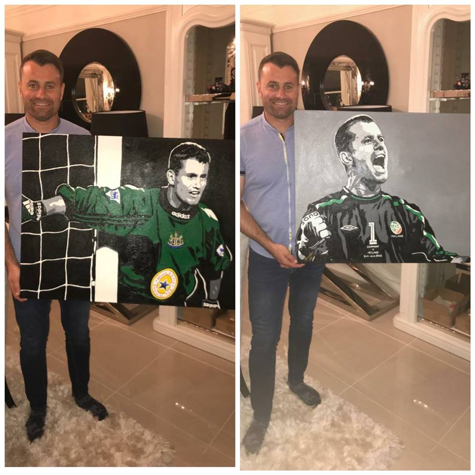 'ANY GIVEN PAINTING' - Two safe hands warrant two portrait paintings! As a kid, I used to dream of becoming Ireland's next goalkeeper... but then they stumbled across this man.... I'm big enough to admit they made the right choice😉 It is with the greatest of pride to know two of my paintings now reside in the home the greatest goalkeeper to ever grace the Irish net, the one & only Shay Given!🍀 Thank you for the great honour & glorious memories my friend!
