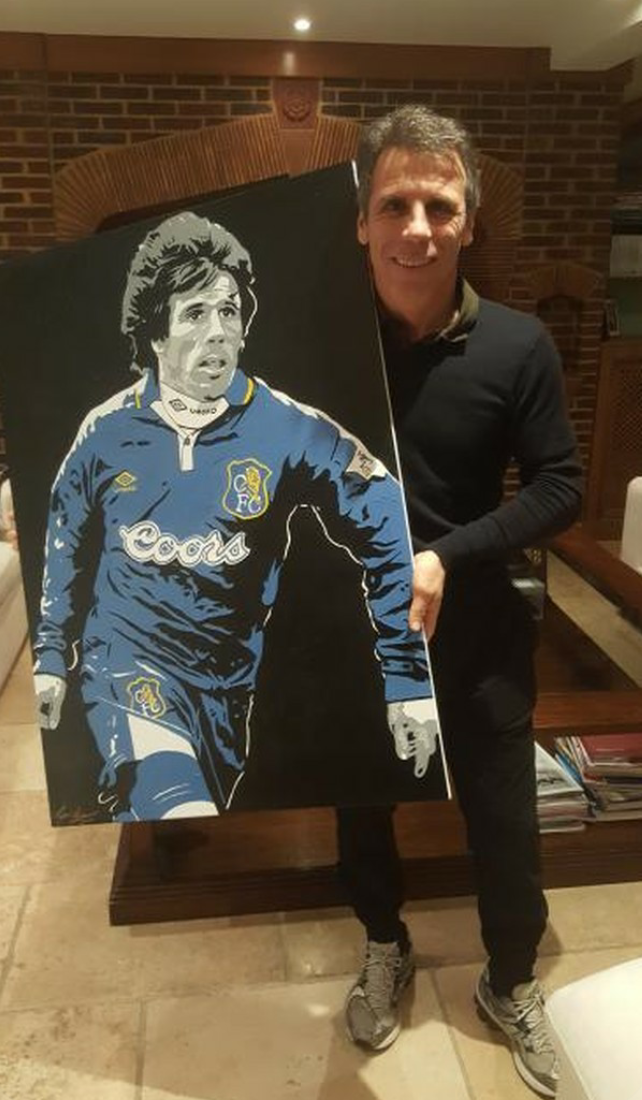 'THE MAGIC MAN' - No matter what team you support, I'm certain we can all agree that we always loved and admired the sheer genius of the Italian Magician GIANFRANCO ZOLA! It fills me with pride to know my painting now hangs proudly in the great mans office!😊