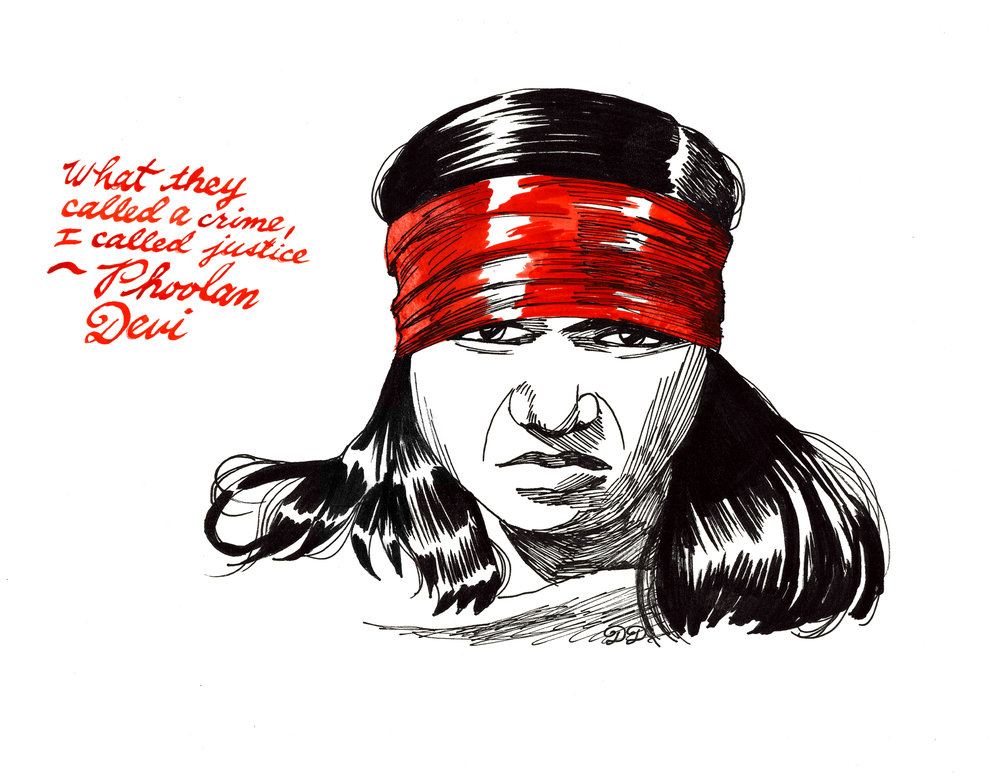 """Phoolan Devi #1 - A print of the northern Indian bandit queen, Phoolan Devi, the subject of Criminal Broads episode 11. 5.5"""" x 8.5"""". $10 + $2 shipping. Buy on Etsy, or send $12 and your shipping address via Venmo (@tori-telfer), or Paypal/ChaseQuickpay (toritelfer@gmail.com)."""