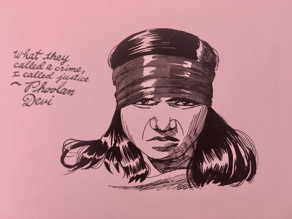 """Phoolan Devi #2 - A print of the northern Indian bandit queen, Phoolan Devi, the subject of Criminal Broads episode 11. 5.5"""" x 8.5"""". $8 + $2 shipping. Buy on Etsy, or send $10 and your shipping address via Venmo (@tori-telfer), or Paypal/ChaseQuickpay (toritelfer@gmail.com)."""
