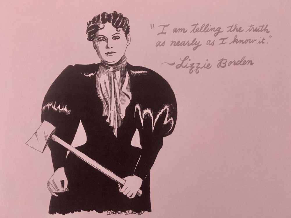 """Lizzie Borden #2 - A print of the OG alleged murderess, Lizzie Borden, the subject of Criminal Broads episode 10. Did she or didn't she?! 5.5"""" x 8.5"""". $8 + $2 shipping. Buy on Etsy, or send $10 and your shipping address via Venmo (@tori-telfer), or Paypal/ChaseQuickpay (toritelfer@gmail.com)."""