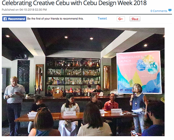 Cebu Design Week is a project organized by the Cebu Furniture Industries Foundation and the European Chamber of Commerce of the Philippines and co-presented by the Department of Trade and Industry, and the Province of Cebu. It aims to bring together the t creative sectors of Cebu through a series of multi-platform events that will serve as a launch pad for creative minds from in the industry to meet, connect, and create new and exciting innovation.
