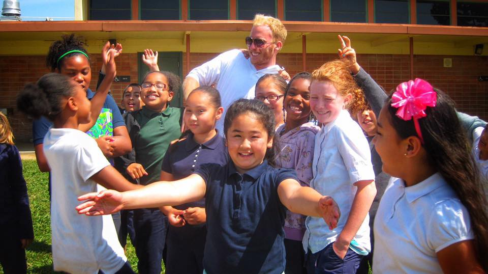 Me with my 4th-grade students at Woodlake Elementary School - Sacramento, CA (2012)
